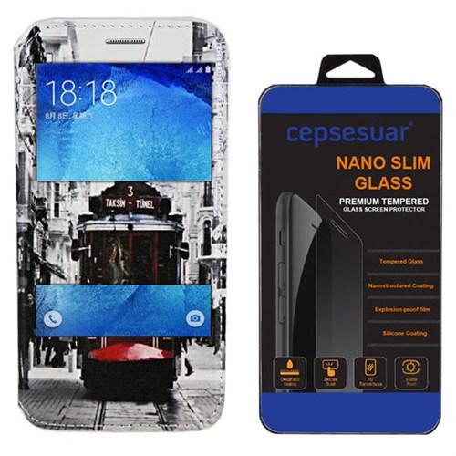 Cepsesuar Samsung Galaxy J5 Kılıf Standlı Tramvay + Kırılmaz Cam