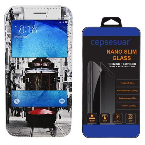 Cepsesuar Samsung Galaxy J7 Kılıf Standlı Tramvay + Kırılmaz Cam