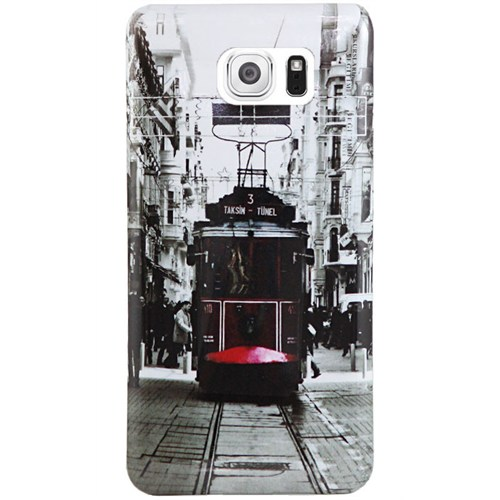 Cepsesuar Samsung Galaxy S6 Edge Kılıf Silikon Desenli Tramvay