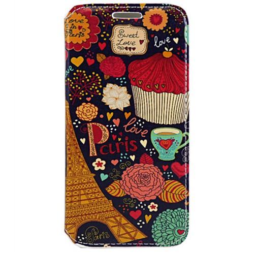 Cepsesuar Samsung Galaxy S6 Edge Plus Kılıf Standlı Paris Çiçek