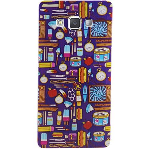 Cepsesuar Samsung Galaxy A7 Kılıf Silikon Desenli Mor Desen