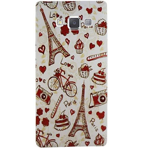 Cepsesuar Samsung Galaxy A7 Kılıf Silikon Desenli Paris Love