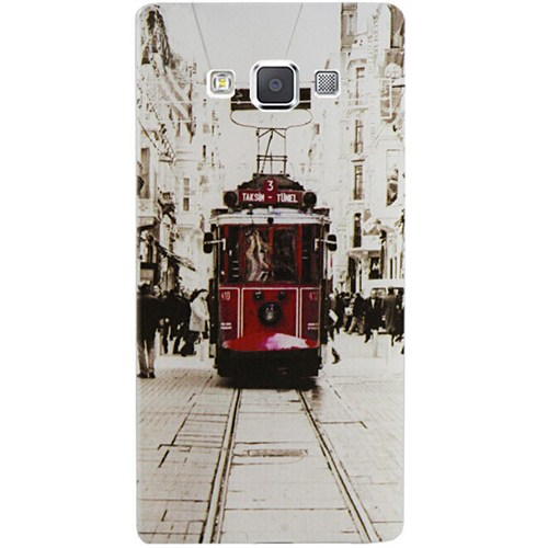Cepsesuar Samsung Galaxy A7 Kılıf Silikon Desenli Tramvay