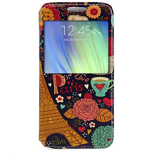 Cepsesuar Samsung Galaxy A7 Kılıf Standlı Paris Çiçek