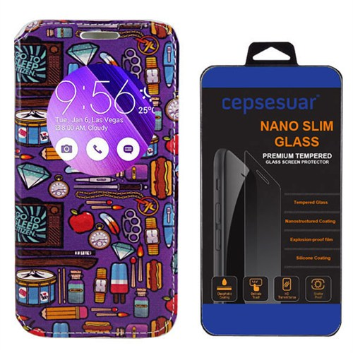 Cepsesuar Asus Zenfone 2 Ze551ml 5.5 İnç Kılıf Standlı Mor Desen + Kırılmaz Cam