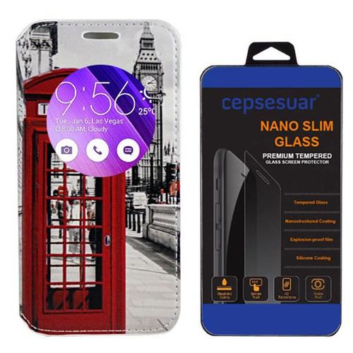 Cepsesuar Asus Zenfone 2 Ze551ml 5.5 İnç Kılıf Standlı Telefon + Kırılmaz Cam