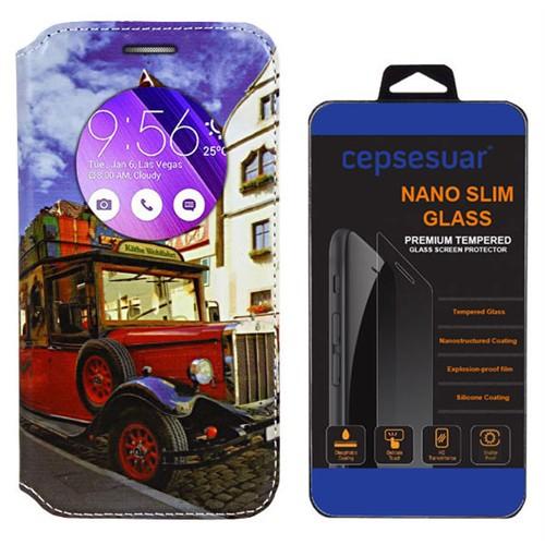 Cepsesuar Asus Zenfone 2 Laser Ze550kl 5.5 İnç Kılıf Standlı Araba + Kırılmaz Cam