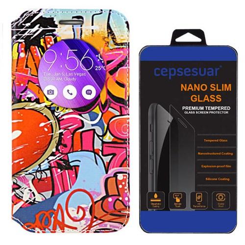 Cepsesuar Asus Zenfone 2 Laser Ze550kl 5.5 İnç Kılıf Standlı Grafiti + Kırılmaz Cam