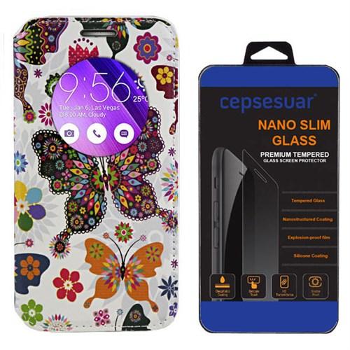 Cepsesuar Asus Zenfone 2 Laser Ze550kl 5.5 İnç Kılıf Standlı Kelebek + Kırılmaz Cam