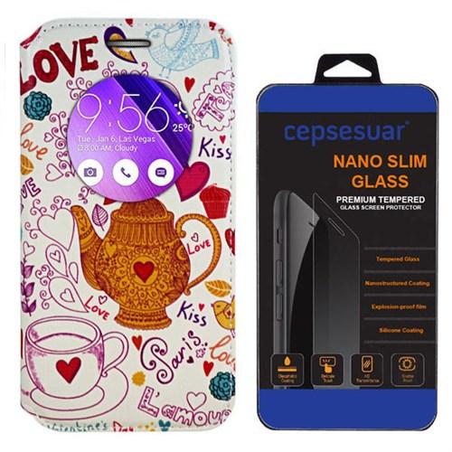 Cepsesuar Asus Zenfone 2 Laser Ze550kl 5.5 İnç Kılıf Standlı Paris Beyaz + Kırılmaz Cam