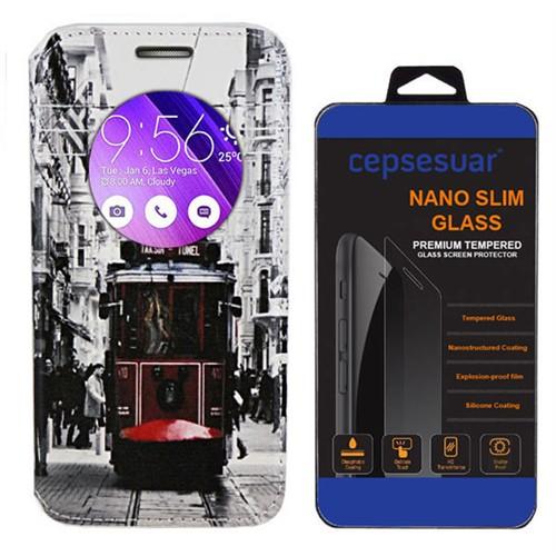 Cepsesuar Asus Zenfone 2 Laser Ze550kl 5.5 İnç Kılıf Standlı Tramvay + Kırılmaz Cam
