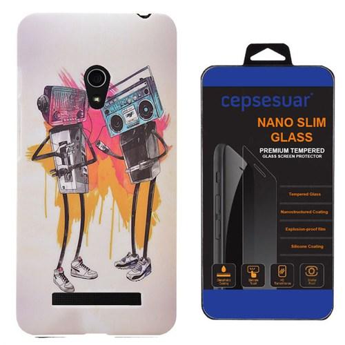 Cepsesuar Asus Zenfone 5 Kılıf Desenli Arka Kapak Tape + Kırılmaz Cam