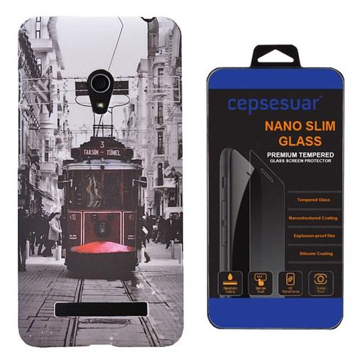 Cepsesuar Asus Zenfone 5 Kılıf Desenli Arka Kapak Tramvay + Kırılmaz Cam