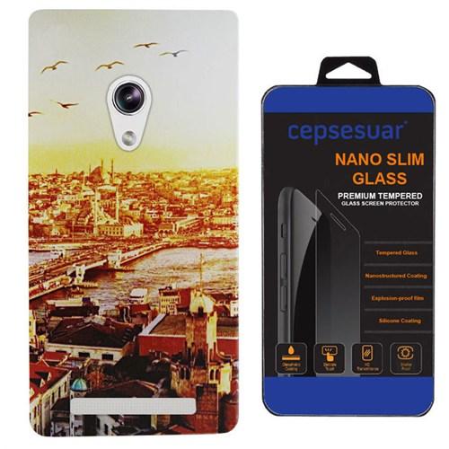 Cepsesuar Asus Zenfone 5 Kılıf Silikon Desenli Manzara + Kırılmaz Cam
