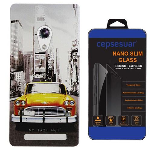 Cepsesuar Asus Zenfone 5 Kılıf Silikon Desenli Taksi + Kırılmaz Cam