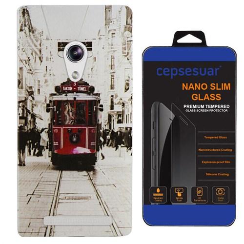 Cepsesuar Asus Zenfone 5 Kılıf Silikon Desenli Tramvay + Kırılmaz Cam