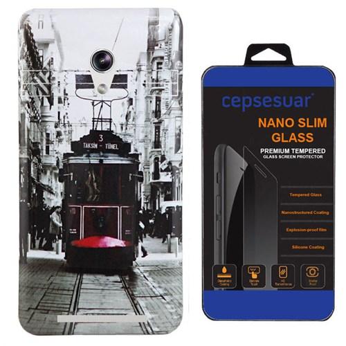 Cepsesuar Asus Zenfone 5 Kılıf Silikon Resimli Tramvay + Kırılmaz Cam