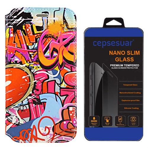 Cepsesuar Lenovo S90 Sisley Kılıf Standlı Grafiti + Kırılmaz Cam