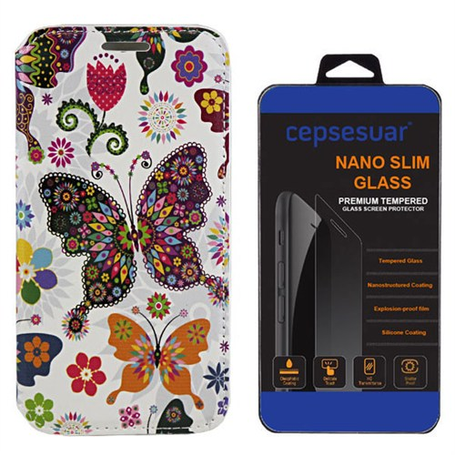 Cepsesuar Lenovo S90 Sisley Kılıf Standlı Kelebek + Kırılmaz Cam