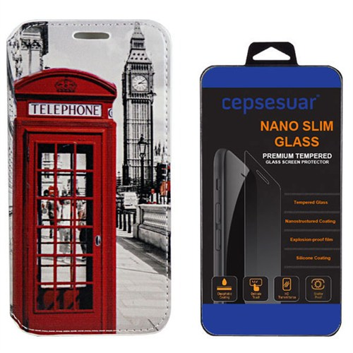 Cepsesuar Lenovo S90 Sisley Kılıf Standlı Telefon + Kırılmaz Cam