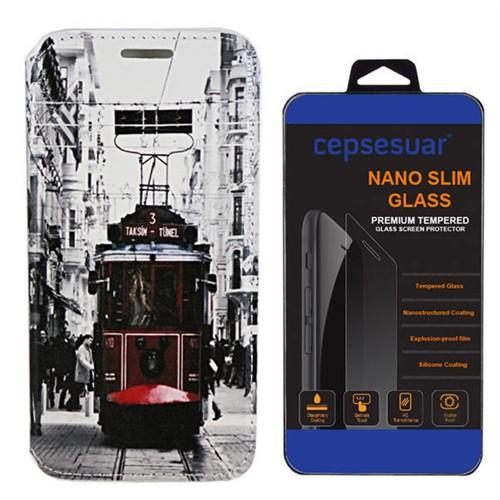 Cepsesuar Lenovo S90 Sisley Kılıf Standlı Tramvay + Kırılmaz Cam