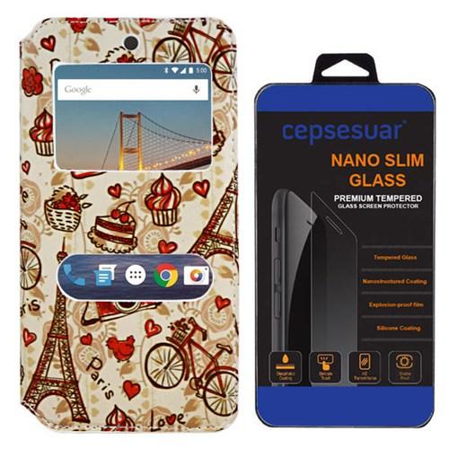 Cepsesuar General Mobile 4G Android One Kılıf Standlı Eiffel + Kırılmaz Cam
