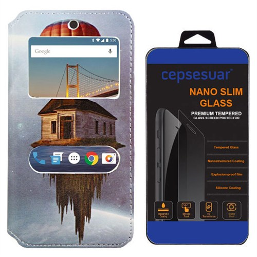 Cepsesuar General Mobile 4G Android One Kılıf Standlı Ev + Kırılmaz Cam