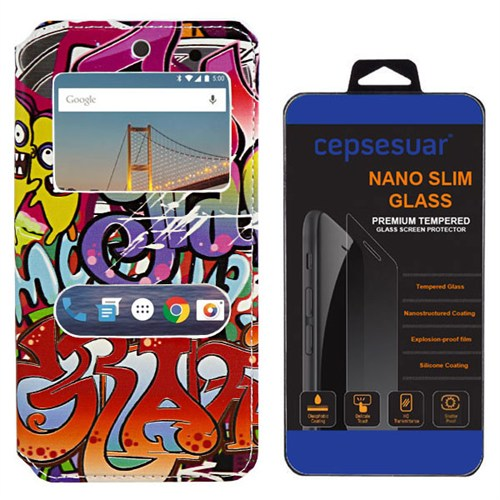 Cepsesuar General Mobile 4G Android One Kılıf Standlı Grafiti + Kırılmaz Cam
