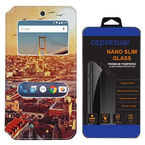 Cepsesuar General Mobile 4G Android One Kılıf Standlı Manzara + Kırılmaz Cam