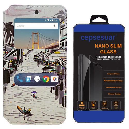 Cepsesuar General Mobile 4G Android One Kılıf Standlı Nehir + Kırılmaz Cam