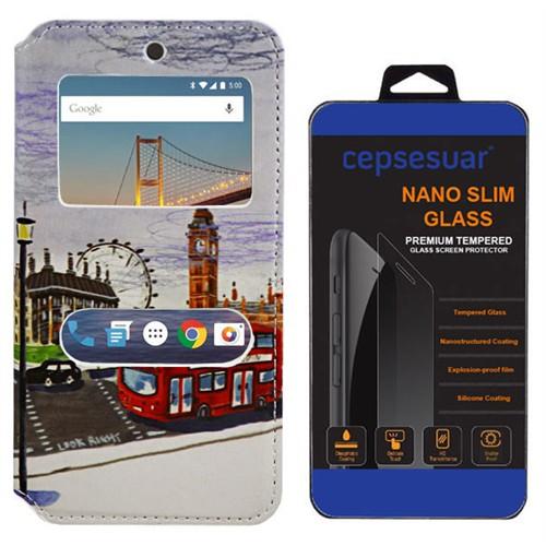 Cepsesuar General Mobile 4G Android One Kılıf Standlı Otobüs + Kırılmaz Cam