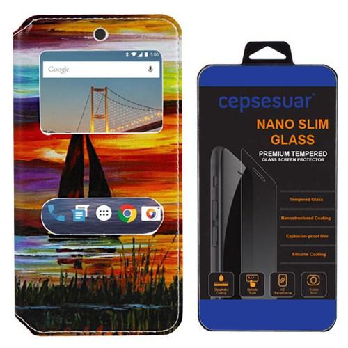 Cepsesuar General Mobile 4G Android One Kılıf Standlı Yelken + Kırılmaz Cam