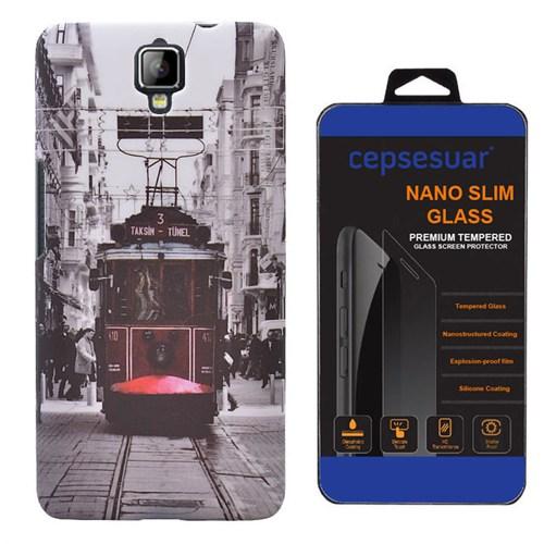 Cepsesuar General Mobile Discovery 2 Kılıf Arka Kapak Tramvay + Kırılmaz Cam