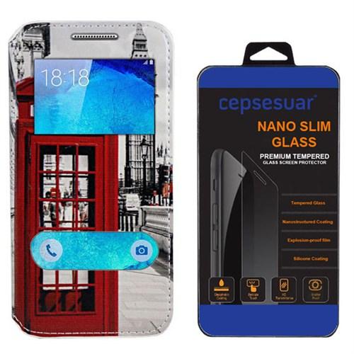 Cepsesuar Samsung Galaxy A8 Kılıf Standlı Telefon + Kırılmaz Cam