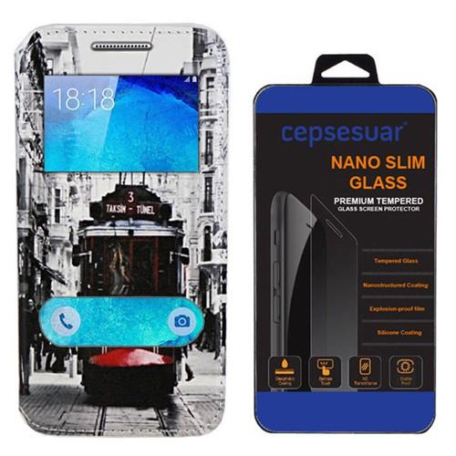 Cepsesuar Samsung Galaxy A8 Kılıf Standlı Tramvay + Kırılmaz Cam