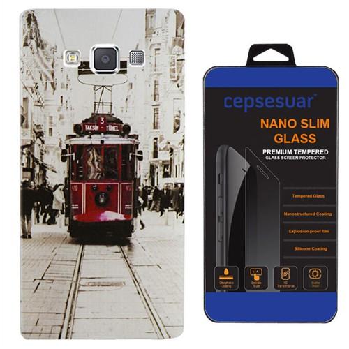 Cepsesuar Samsung Galaxy E5 Kılıf Silikon Desenli Tramvay + Kırılmaz Cam