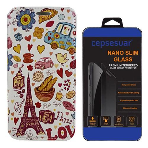 Cepsesuar Samsung Galaxy E5 Kılıf Standlı Paris Love + Kırılmaz Cam