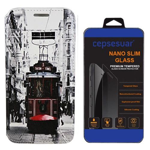 Cepsesuar Samsung Galaxy E5 Kılıf Standlı Tramvay + Kırılmaz Cam