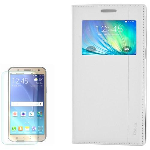 Cep Market Samsung Galaxy Grand 2 Kılıf Pencereli Kapaklı Milano Kırılmaz Cam