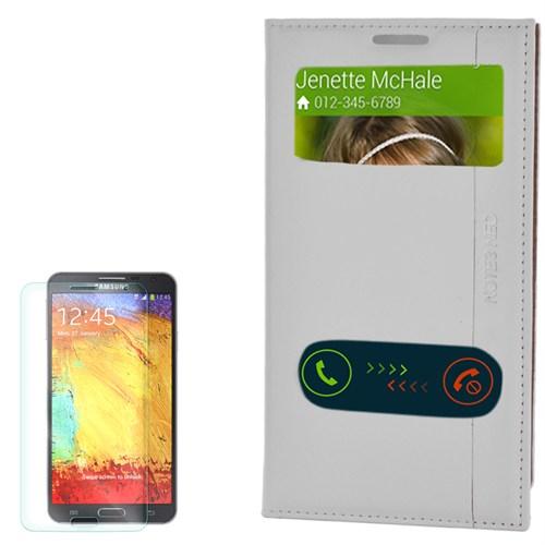 Cep Market Samsung Galaxy Note 3 Neo Kılıf Pencereli Kapaklı Milano Kırılmaz Cam
