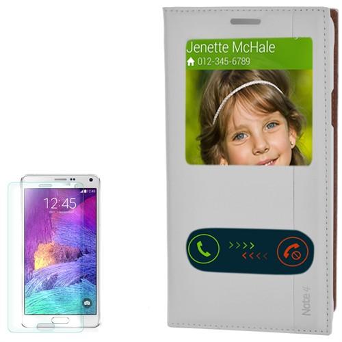 Cep Market Samsung Galaxy Note 4 Kılıf Pencereli Kapaklı Milano Kırılmaz Cam