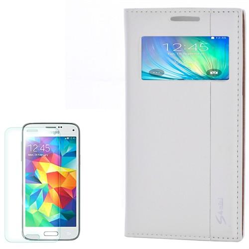 Cep Market Samsung Galaxy S4 Mini Kılıf Pencereli Kapaklı Milano Kırılmaz Cam