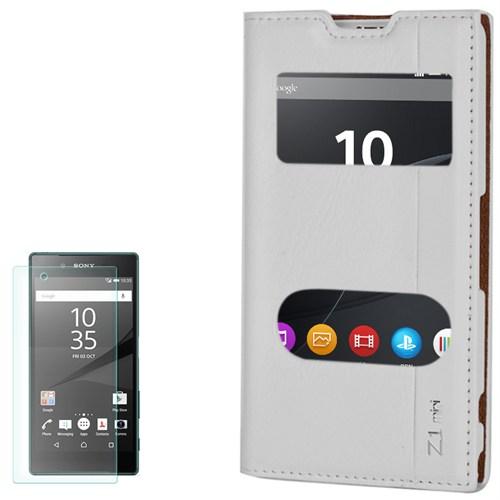 Cep Market Sony Xperia Z1 Compact Kılıf Kapaklı Milano Kırılmaz Cam