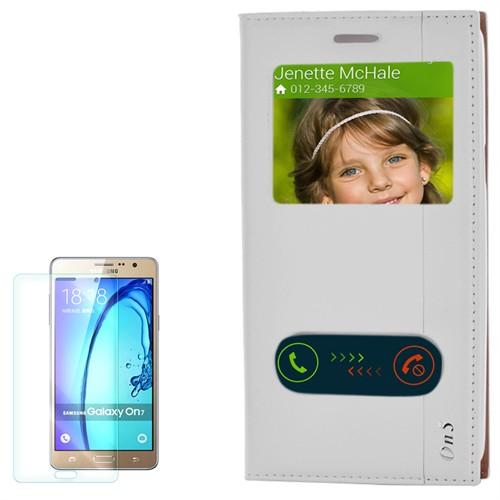 Cep Market Samsung Galaxy On5 Kılıf Pencereli Kapaklı Milano Kırılmaz Cam