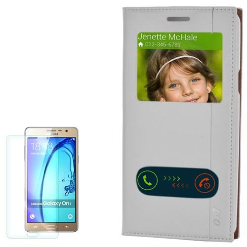 Cep Market Samsung Galaxy On7 Kılıf Pencereli Kapaklı Milano Kırılmaz Cam