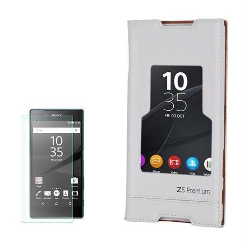 Cep Market Sony Xperia Z5 Premium Kılıf Pencereli Milano Kırılmaz Cam