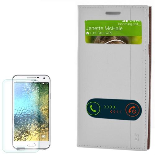 Cep Market Samsung Galaxy E5 Kılıf Pencereli Kapaklı Milano Kırılmaz Cam