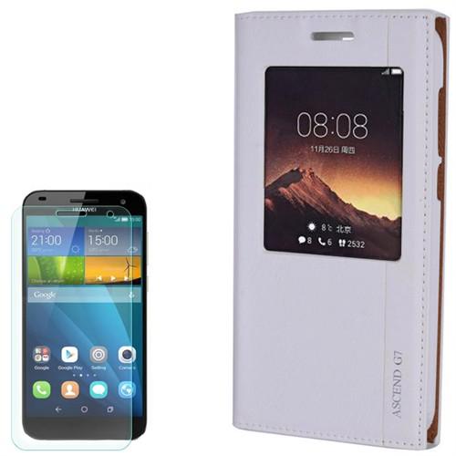 Cep Market Huawei Ascend G7 Kılıf Pencereli Milano Kırılmaz Cam