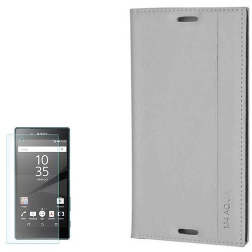 Cep Market Sony Xperia M4 Aqua Kılıf Kapakli Milano Kırılmaz Cam