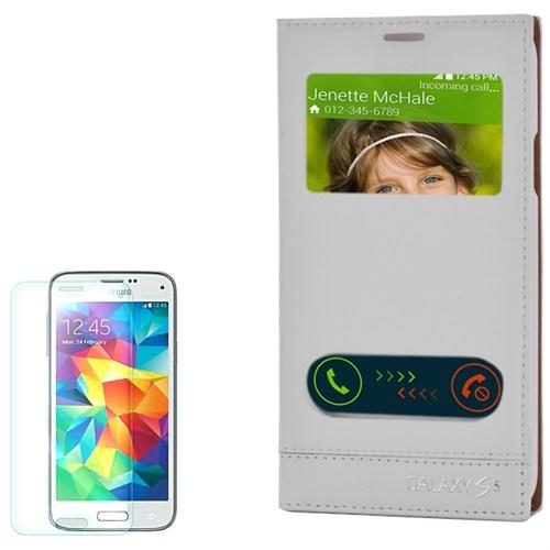 Cep Market Samsung Galaxy S5 Kılıf Pencereli Kapaklı Milano Kırılmaz Cam